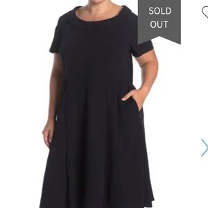 Donna Morgan Rolled Neck Crepe Dress Navy 18W NWT